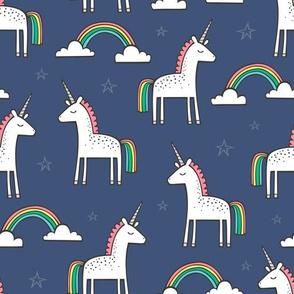 Cute Unicorn Rainbow on Navy Blue