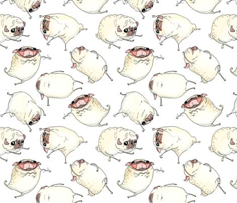 "3-4"" Pug Interpretive Dance fabric by inkpug on Spoonflower - custom fabric"