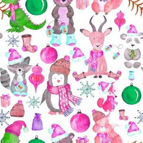 "6"" Pink Winter Animals"