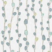 Pussy Willows in  Turquoise and Gray