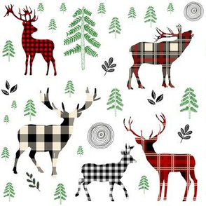 "8"" Woodland Plaid Deer / Green Trees"