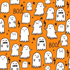 ghost orange halloween fabric