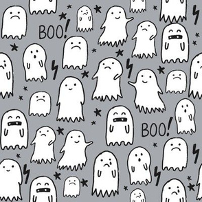 ghost grey halloween fabric