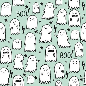ghost mint halloween fabric