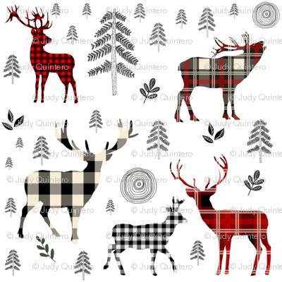 """8"""" Woodland Plaid Deer / Black Trees"""