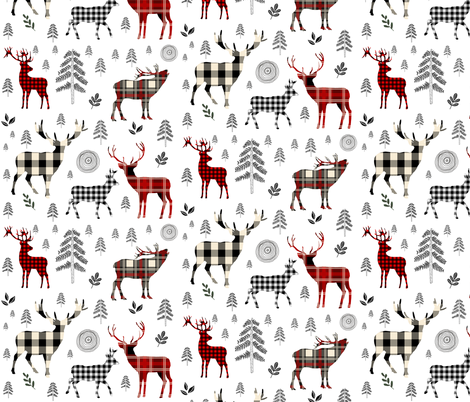 "8"" Woodland Plaid Deer / Black Trees fabric by shopcabin on Spoonflower - custom fabric"