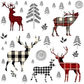 "8"" Woodland Plaid Deer / Black Trees"