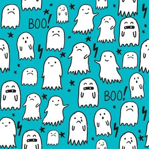 ghost teal halloween fabric