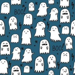 ghost dark blue halloween fabric