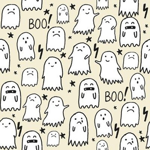 ghost tan halloween fabric