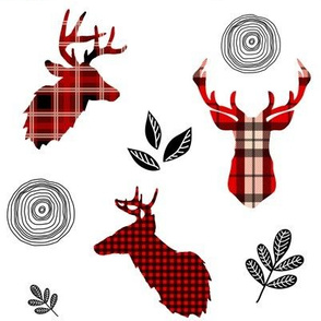 "8"" Red Plaid Woodland Deer / white"