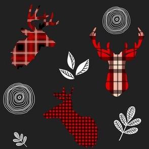 "8"" Red Plaid Woodland Deer / black"