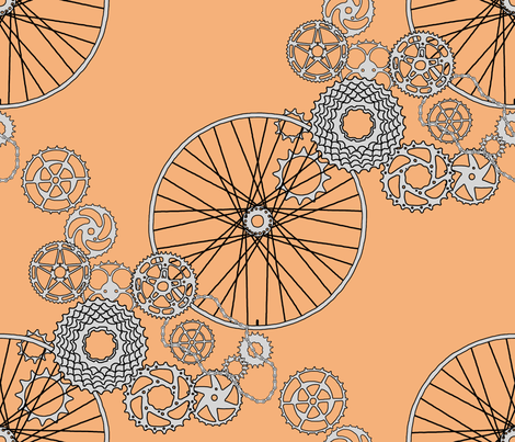 """Beautiful bicycle parts - 42 inch yard - """"copper"""" - F5B17A fabric by victorialasher on Spoonflower - custom fabric"""