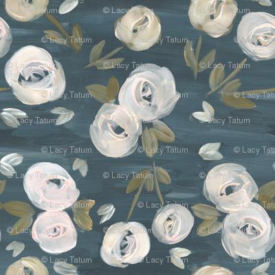 moody blush navy modern floral
