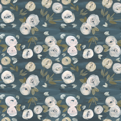 moody blush navy modern floral  fabric by smallhoursshop on Spoonflower - custom fabric