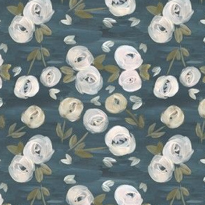 moody blush navy modern floral - small scale