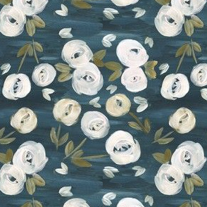 Navy Blush Painted Florals