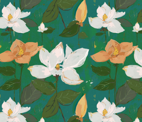 Magnolia - teal and green fabric by alison_janssen on Spoonflower - custom fabric