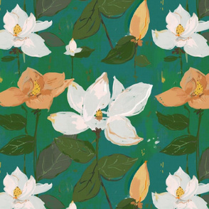 Magnolia - teal and green