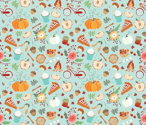 Spicy latte, pumpkins & apple pie fabric by appaloosa_designs on Spoonflower - custom fabric