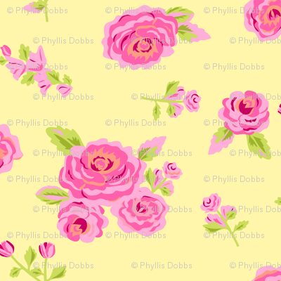 Pink Roses on Yellow