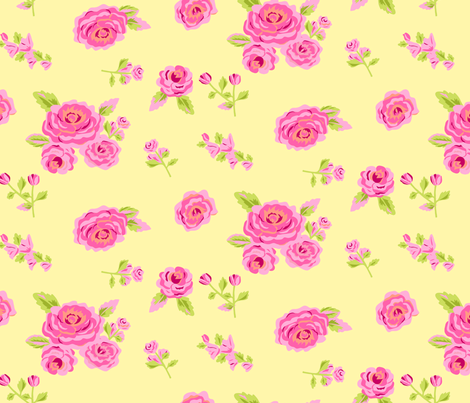 Pink Roses on Yellow fabric by phyllisdobbs on Spoonflower - custom fabric