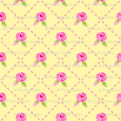 Small Pink Roses Diagonal Yellow