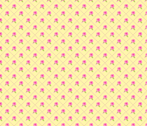 Small Pink Roses Diagonal Yellow fabric by phyllisdobbs on Spoonflower - custom fabric