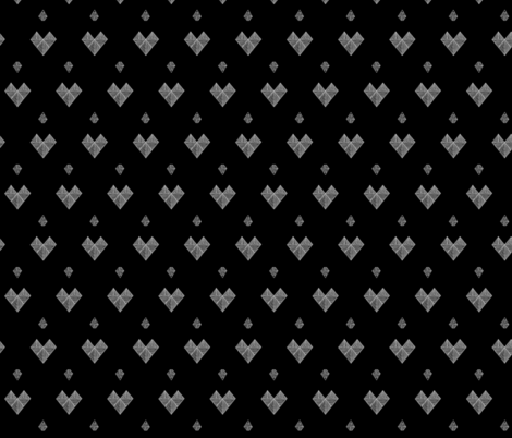 geometric hearts black & white fabric by juniper_valley on Spoonflower - custom fabric