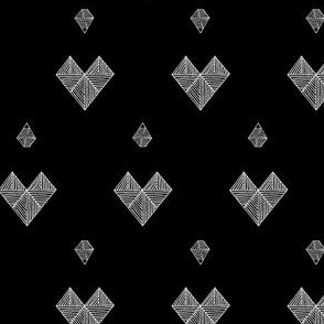 geometric hearts black & white