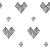 geometric hearts white & black