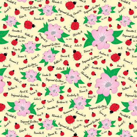 Dreaming Ladybugs and Dogwood Flowers fabric by sewwonderfulquiltsandembroidery on Spoonflower - custom fabric
