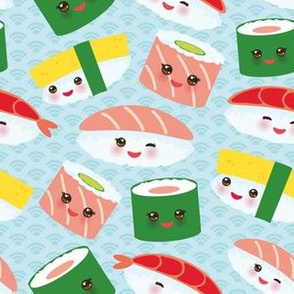 Japanese Kawaii Sushi on baby blue background