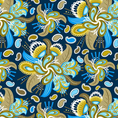 Painted Paisley (2) fabric by jjtrends on Spoonflower - custom fabric