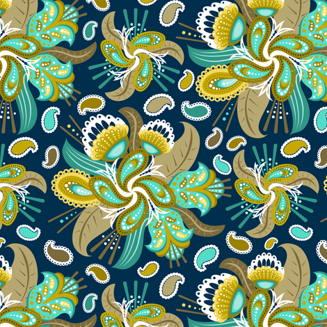 Painted Paisley (3) fabric by jjtrends on Spoonflower - custom fabric