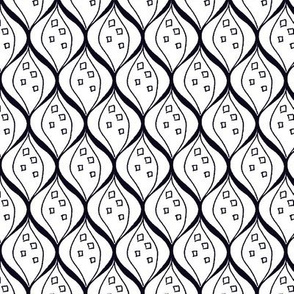 Ogee Black and White Upholstery Fabric
