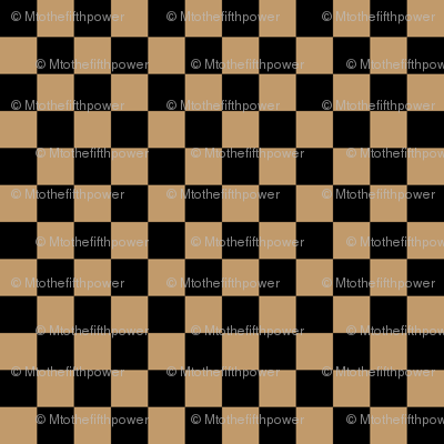 Half Inch Black and Camel Brown Checkerboard Squares