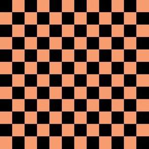 Half Inch Black and Peach Checkerboard Squares