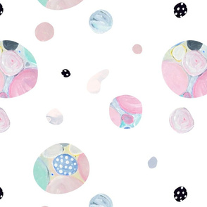 Planet Pastel (white background) // opals gems world pink spot dots polkadots green teal blue