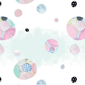 Planet pastel (splash background) // opals gems world pink spot dots polkadots green teal blue