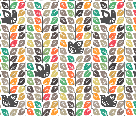 doves and autum leaves (white) fabric by analinea on Spoonflower - custom fabric
