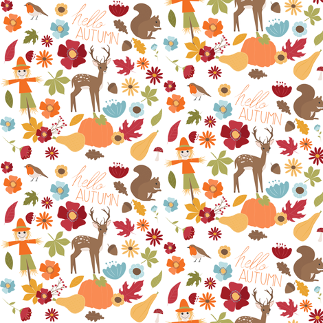 Hello Autumn fabric by nagoreillustrations on Spoonflower - custom fabric
