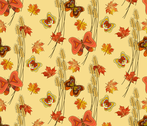 Butterflies_in_Autumn fabric by house_of_heasman on Spoonflower - custom fabric
