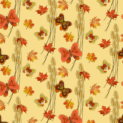 Butterflies_in_Autumn fabric by house_of_heasman on Spoonflower - custom fabric