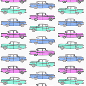 American vintage cars in ice cream pastels