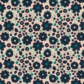 Navy Blush Modern Floral