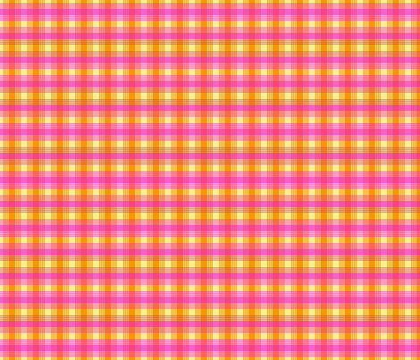 Orange Fuchsia Pink Yellow Plaid fabric by phyllisdobbs on Spoonflower - custom fabric