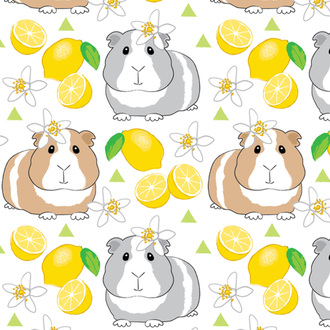 guinea-pigs-and-lemons-on-white fabric by lilcubby on Spoonflower - custom fabric