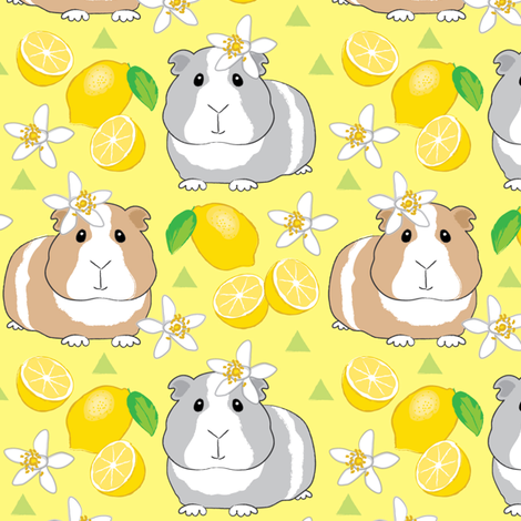 guinea-pigs-with-lemons-on-yellow fabric by lilcubby on Spoonflower - custom fabric