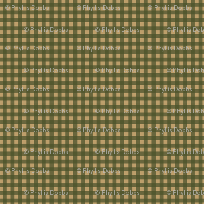 Dark Green Tan Check Plaid